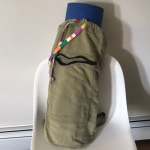 Army green cotton canvas worn back pack yoga mat
